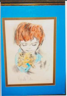 mini litho, boy with cat, hand colored