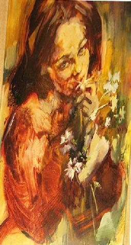 "Featured on Nate Berkus NBC TV Show Natiionwide: Hyacinthe Kuller ""Girl With Flowers"" 9x12"" $17,000.00."