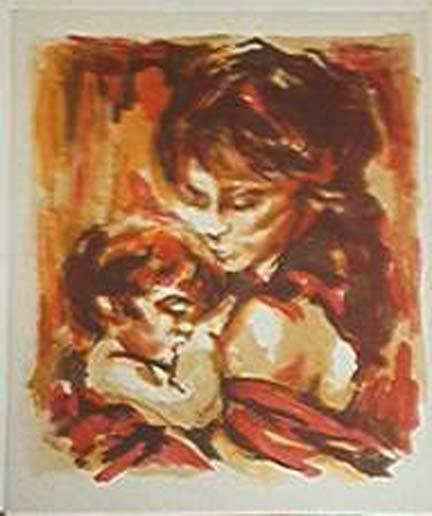 Silk Screen Mother and Child