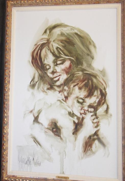 Mother and Child's Sleep of Love, 2x3' oil on canvas, framed, by Hyacinthe Kuller