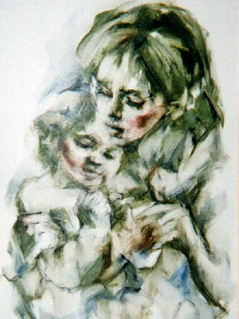 "'MOTHER AND CHILD"" 2X3 OIL ON CANVAS"
